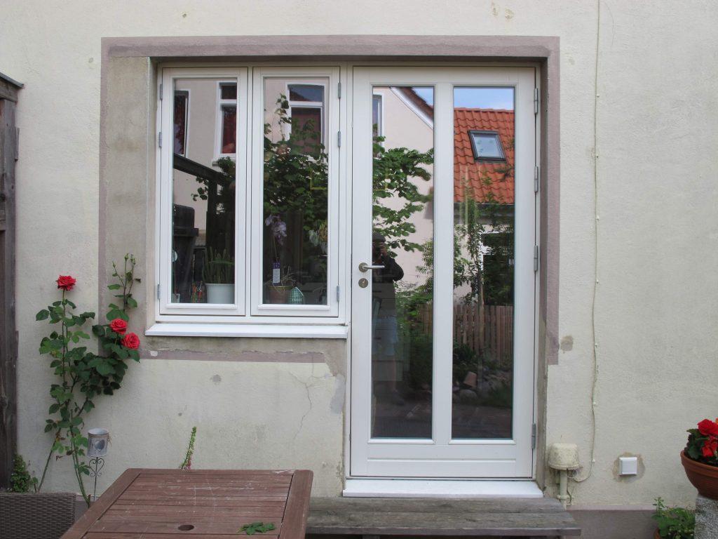 Dänische Terrassentür einflügelig weiß Riegel Fecon Nordwest
